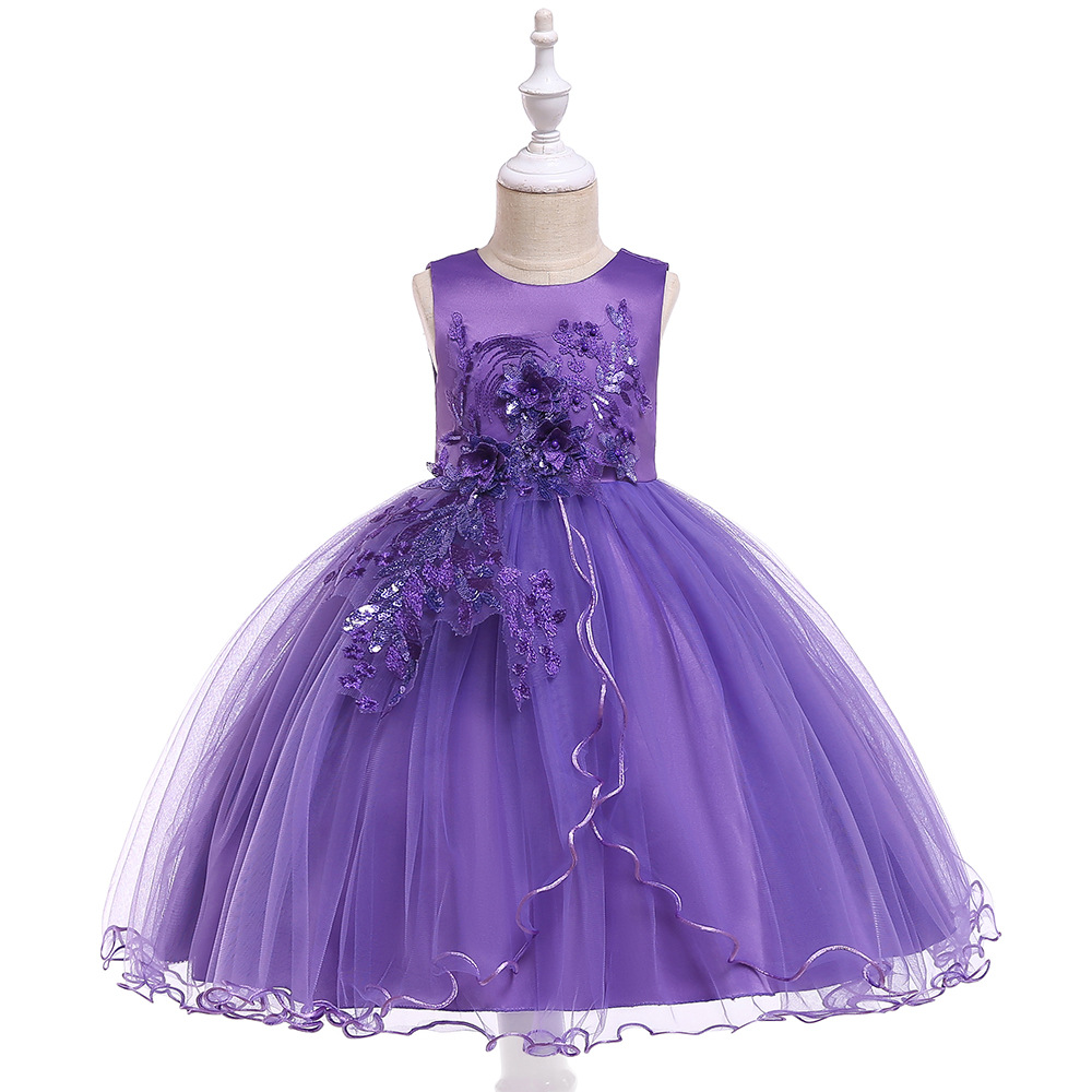 Beautiful A-line Little   Girls   First Communion PurpleFlower   Girl     Dresses   Gowns BallgowTulle Applique Kids Prom Evening   Dresses