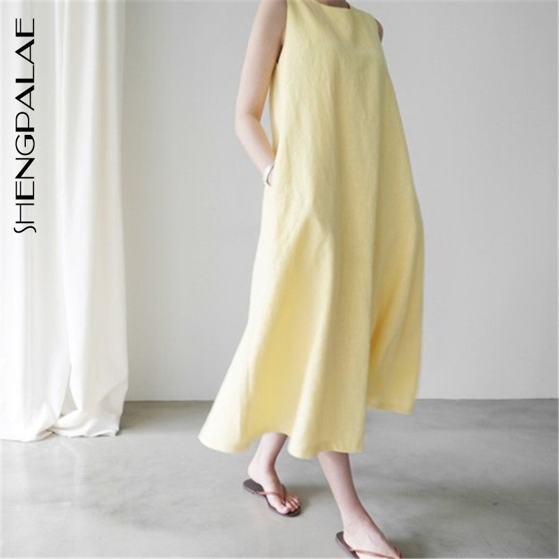 SHENGPALAE 2020 New Spring Korean Fashion Spring Vestidos Round Collar Sleeveless Loose Big Size White Japan Women Dress FQ100 1