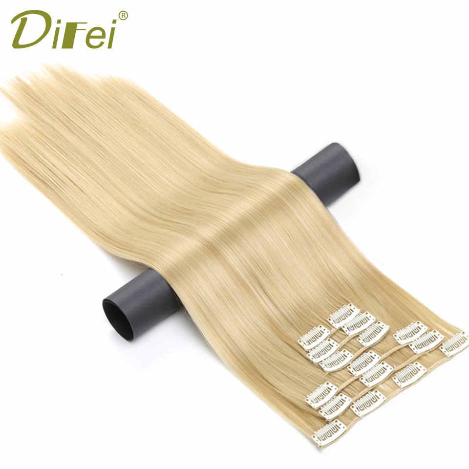 """DIFEI 6 шт./компл. 24 """"16 зажимов в накладных укладках волос 130 г прямой синтетический шиньон на зажиме в наращивание волос термостойкий"""