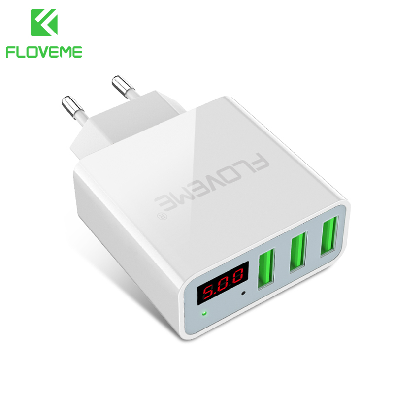 FLOVEME USB Charger 3 Ports Digital Display Portable Fast USB Charging Travel Adapter For iPhone Samsung XIAOMI Huawei OnePlus 5