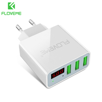 FLOVEME USB Fast Charger 3 Ports Digital Display Portable USB Charging Travel Adapter For IPhone Samsung