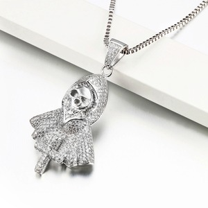 Image 5 - Hiphop Rock Skeleton Necklace Punk Ghost Party Jewelry Jesus Cross Specter Pendant CZ Crystal Necklaces Party Iced Out