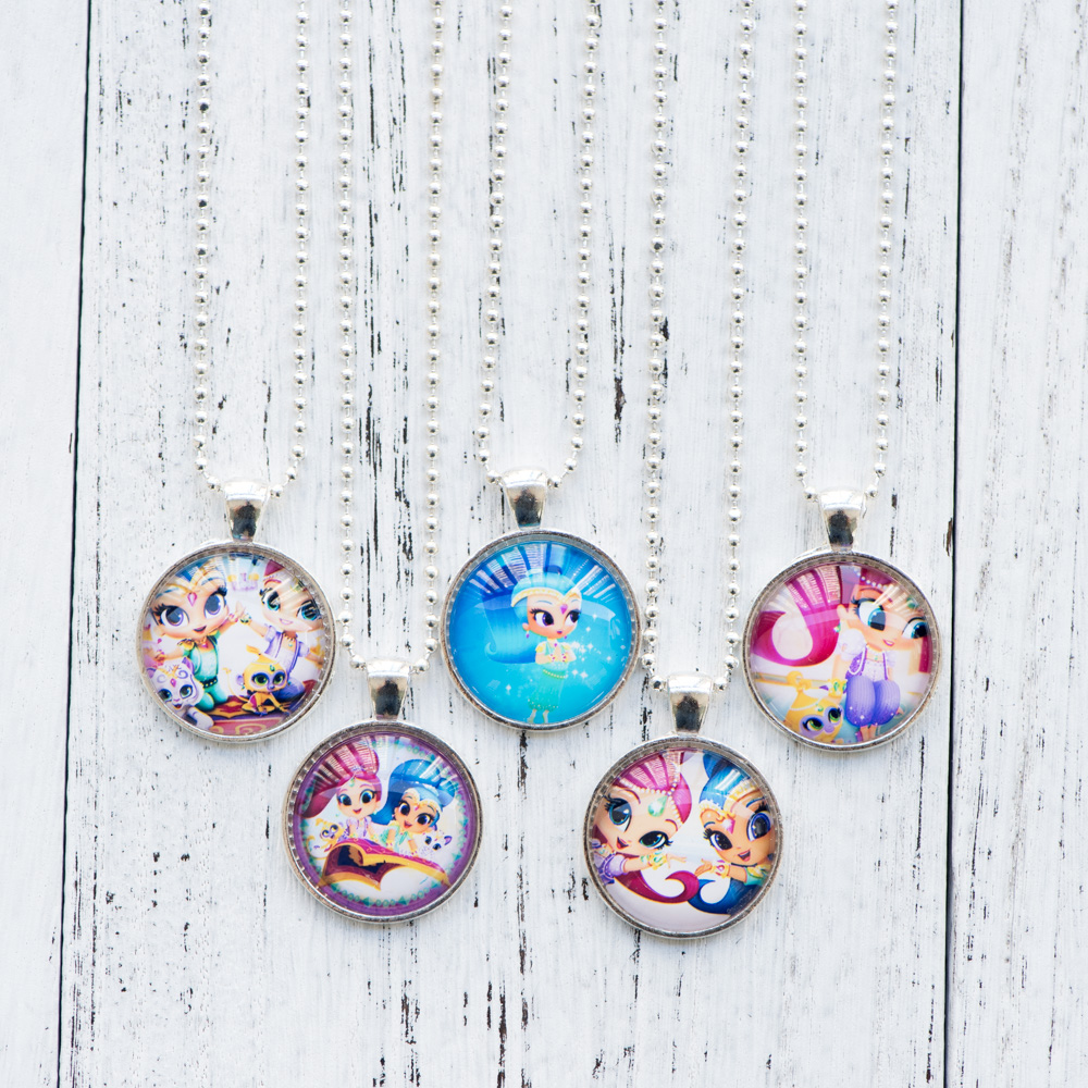 Cabochon Necklace Shimmer and Shine Photo Pendant Glass Cabochon Necklace Handmade Women Jewelry Cute Birthday Party Gifts