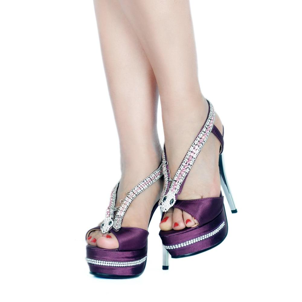 Cm Sandales Élégant Peep Talon Cristal Plate Talons 14 As Hauts Color Strass Femmes Showed Super Toe Pompes forme Haute Serpent 1Pdrw1px