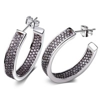TT Fashion Brand New Design Hoop Earrings for Women Rhodium color Made with AAA Cubic Zirconia Lead Free Nickel Free