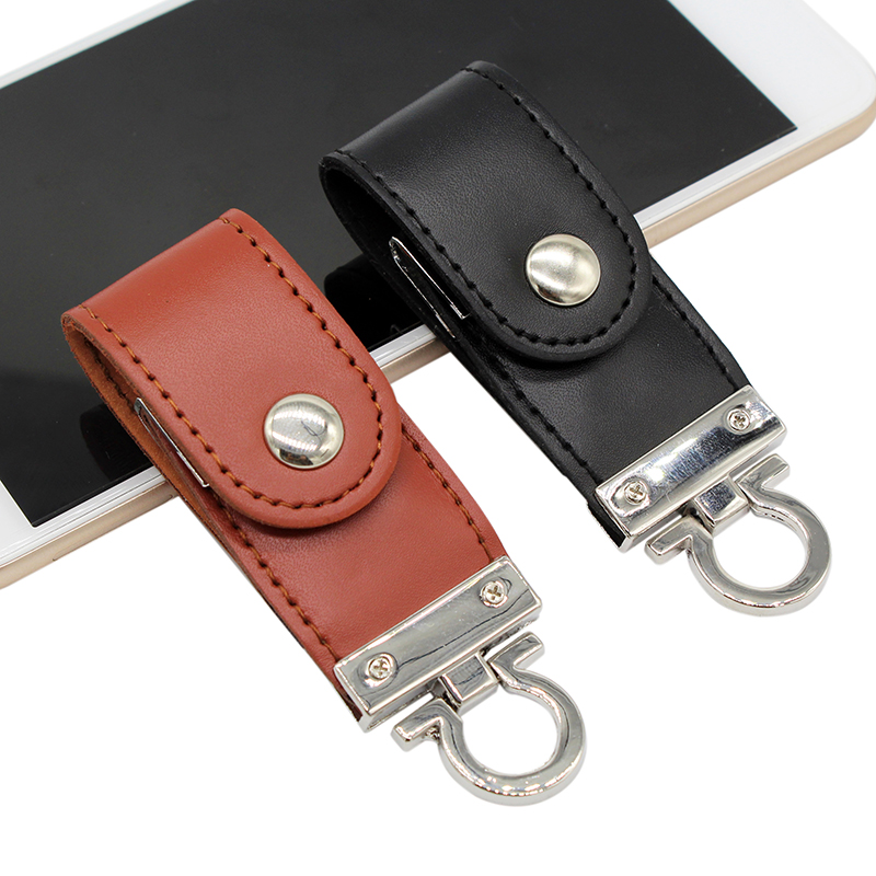 BiNFUL USB Flash Drive Leather Metal Keyring Pendrive Creativo USB 2.0 32gb 16gb 8gb 4gb