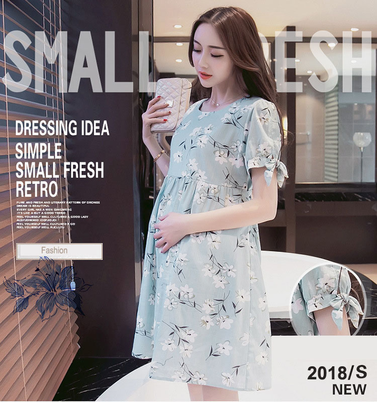 Maternity Nursing Dress For Pregnant Women Clothing 2018 Summer Fashion Cotton Breastfeeding Skirt Pregnancy Clothes Lactation