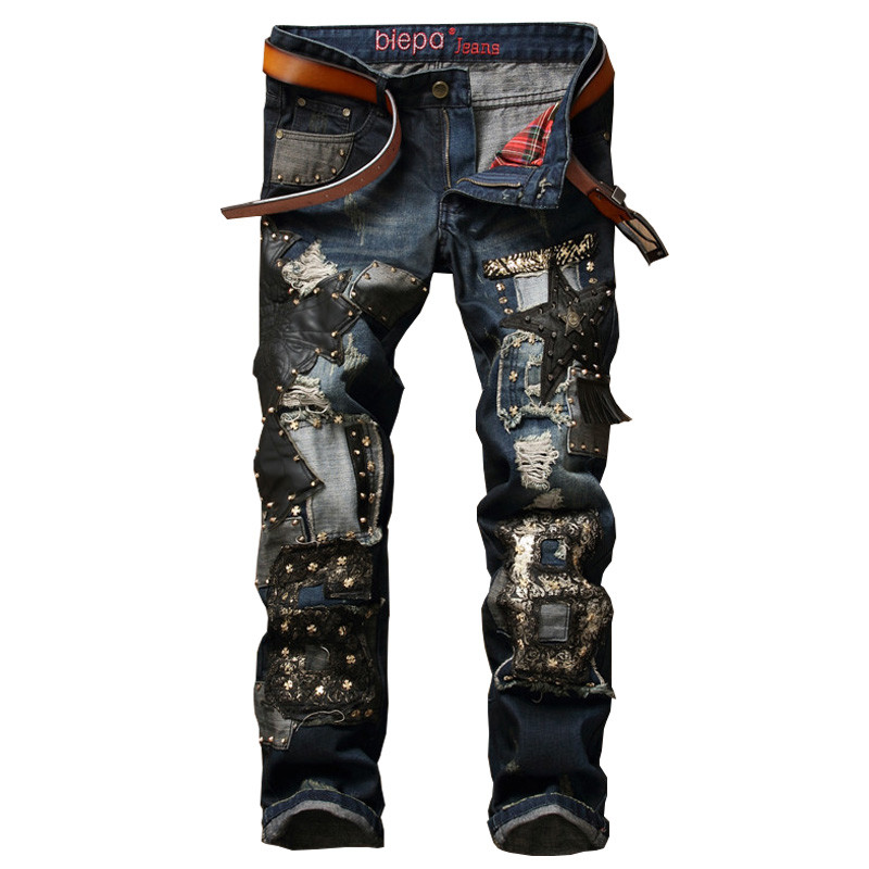 New Men's Ripped Jeans Men Pants With Patchwork Punk Style Denim Trousers For Female Slim Fit With Rivets Biker Classic Jeans 2017 new designer korea men s jeans slim fit classic denim jeans pants straight trousers leg blue big size 30 34
