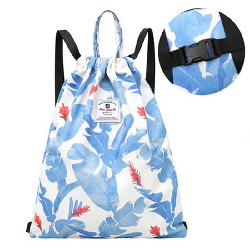 Bolsa con cordón impreso hebilla deportiva para mujer mochila de cuerda de Fitness bolsa de baloncesto Simple de almacenamiento ligero saco colorido SY109