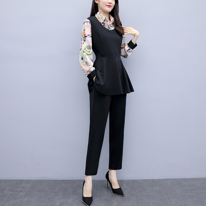 L-5xl 2019 Black Printed Two Piece Sets Women Plus Size Fake Two Pieces Tunics Tops And Pants Suits Elegant Korean Office Sets 25