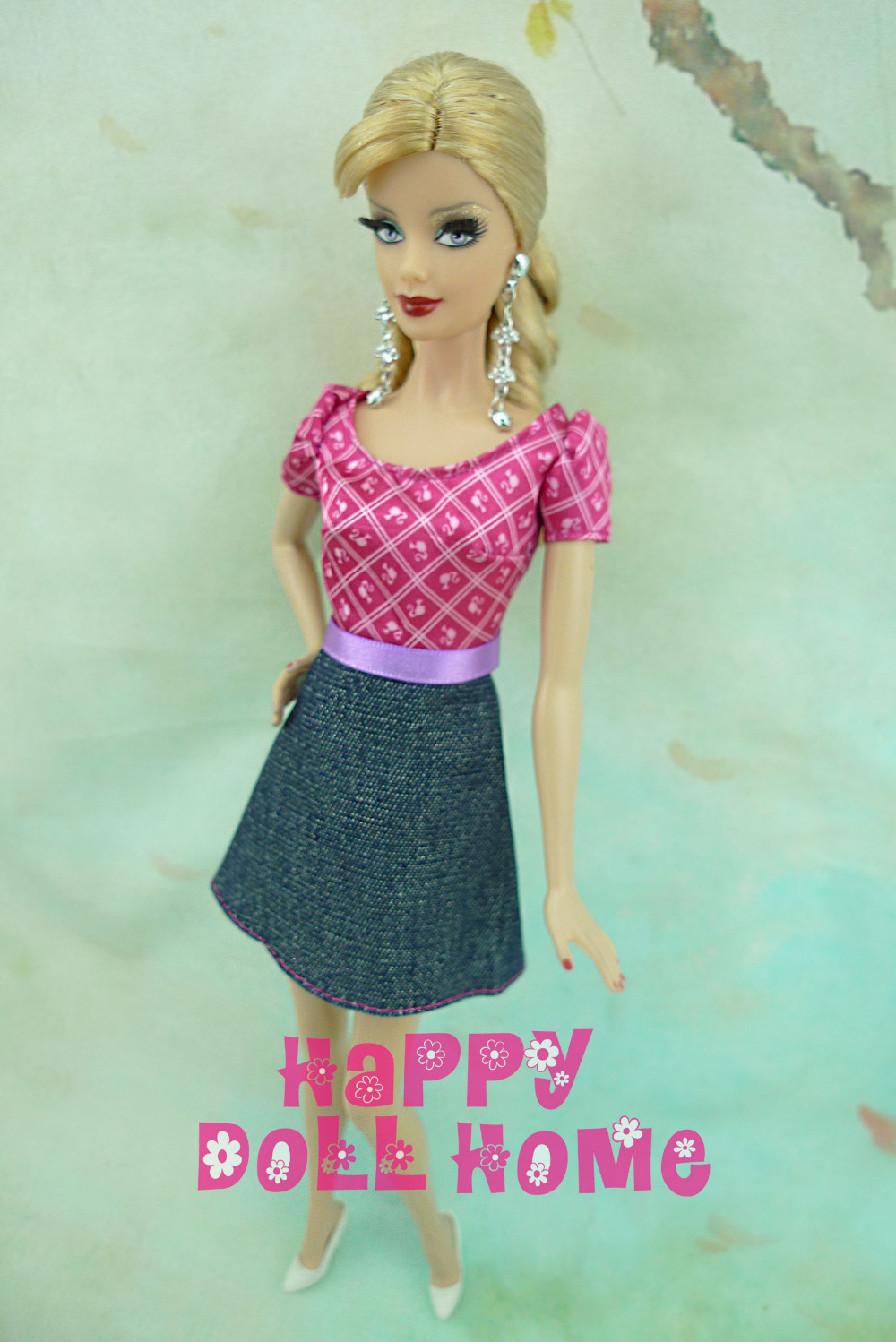 Trend Cute Costume With Denim Backside Skirt Quick Sleeved Outfit Summer season Garments For Barbie Doll 12″ Woman Favor Reward (NO DOLL!)