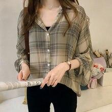 Women Blouses Long Sleeve Button Plaids Ladies Shirts Baggy