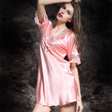 Ladies Sexy Silk Satin Night Dress Short Sleeve Thin Nighties V-neck Nightgown Plus Size Lace Sleepwear Sleepshirts For Women