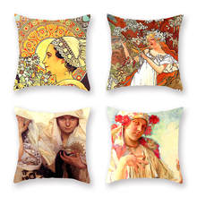 4 Pcs Vintage Cushion Cover Flowers Mucha Retro Pillow Cases for Sofa Car Seat Bedroom Home Decor Artistic Accessories 45x45cm