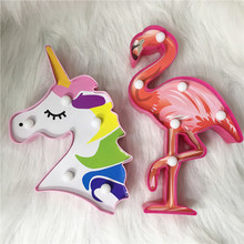 3D Upgrade LED Flamingo Unicorn Mermaid Night Lights Marquee Sign Luminary Wall Lamp Cartoon Animal Home Decoration Lighting