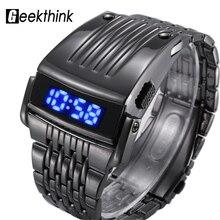 GEEKTHINK Fashion Brand Digital Sport Watch Led Men's Military Luxury Clock Male Full Steel Wrist Watch relojes hombre New