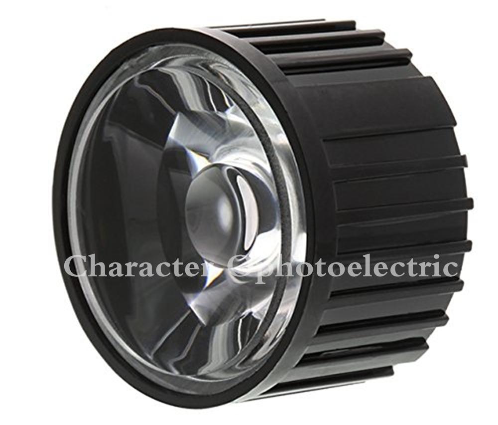 Купить с кэшбэком 100pcs 5/8/15/25/30/45/60/90/120 degrees LED Lens With Black Holder For 1W 3W 5W High Power LED Lamp Light