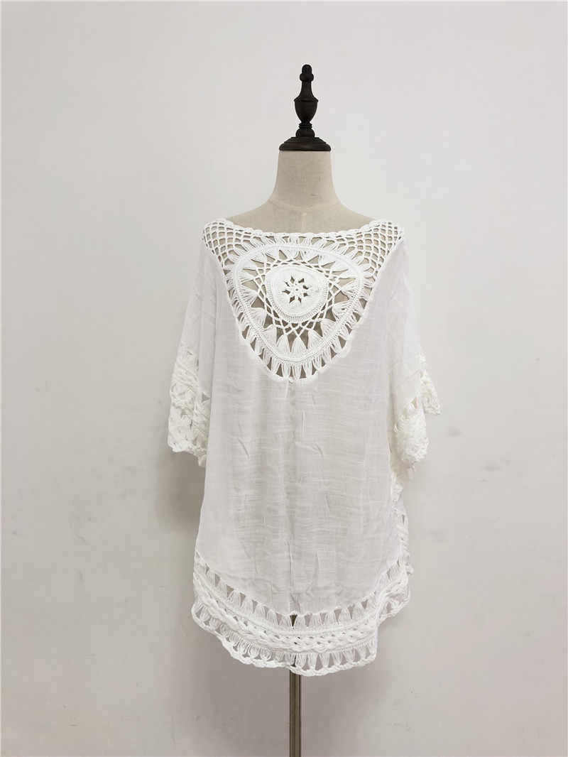 9dc496af47 ... Swimwear Women 2019 Pareo Outlet Beach Tunic Women Swimsuit Ladies Swim  Cover Up Sexy White Cotton ...