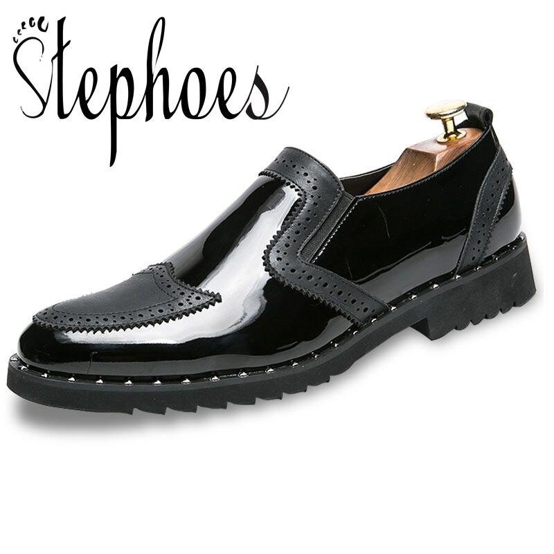 Stephoes hommes chaussures habillées motif Floral hommes chaussures formelles en cuir de luxe de mode marié chaussures de mariage hommes Oxford chaussures offre spéciale