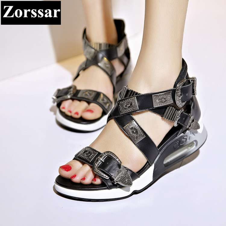 {Zorssar} Summer Women shoes wedges High heels Casual sandals 2017 Fashion Genuine leather  Roman gladiator mujer sandalias phyanic 2017 gladiator sandals gold silver shoes woman summer platform wedges glitters creepers casual women shoes phy3323
