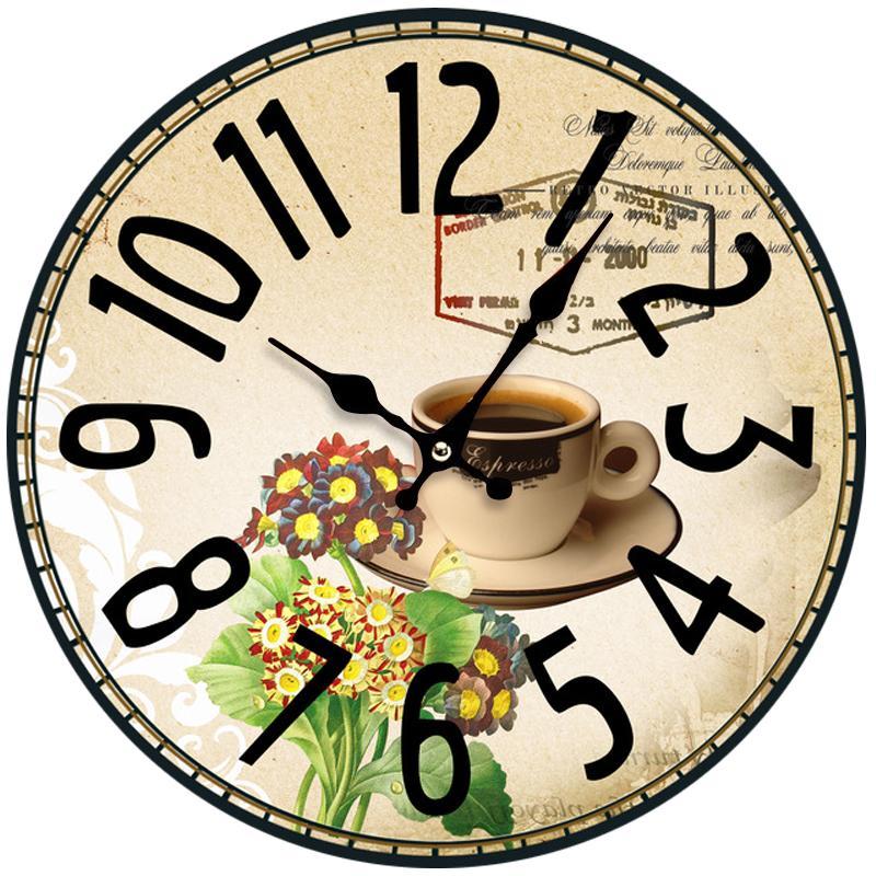 il trasporto libero i love coffee design rotondo orologi da parete in legno quarzo staffa cucina