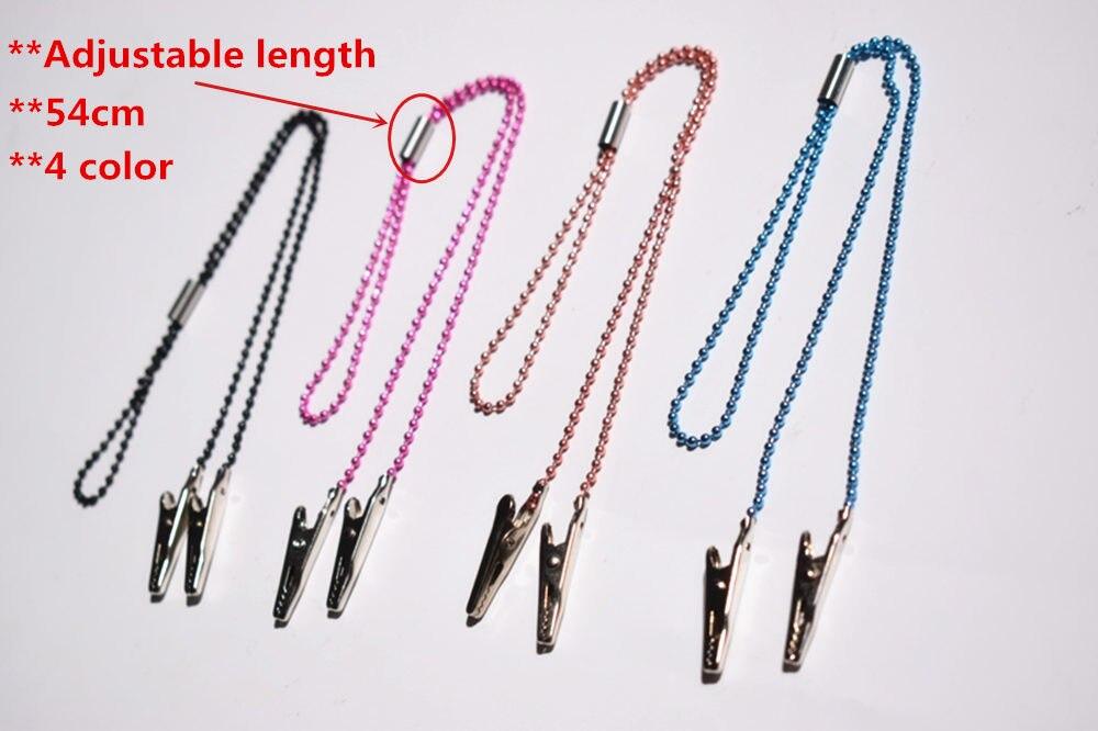 100% Quality 5 Pcs Dental Instrument Adjustable Length Bib Clips Chain Napkin Holder 4 Color Oral Hygiene