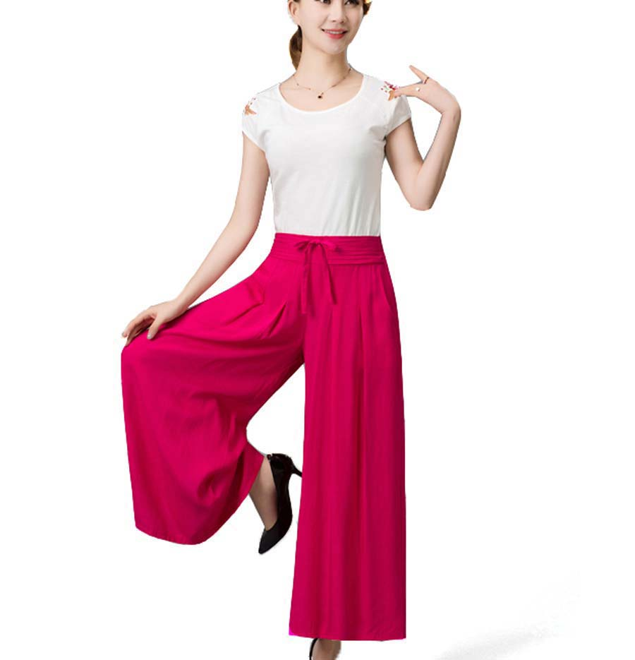 2016 New plus size Women cotton Trousers Culotte Summer   Wide     Leg     Pants   Solid Loose casual   pants   CE247