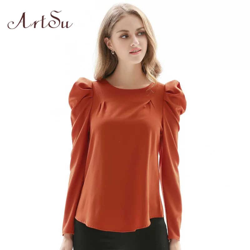 88eae12bb11b36f ... Арцу лето OL для женщин блузка рубашка Топ Puff с длинным рукавом  красная черный, розовый ...