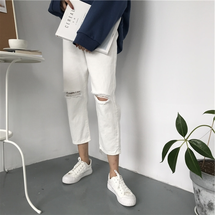 18 Summer Style Black White Hole Ripped Jeans Women Straight Denim High Waist Pants Capris Female Casual Loose Jeans 5