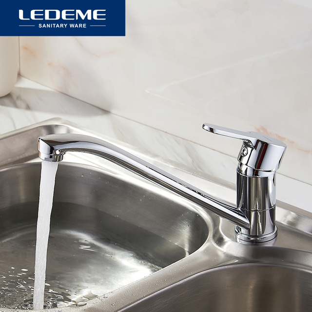 LEDEME Kitchen Faucets New Single Handle Pull Out Kitchen Tap Single Hole Handle Crane Chrome Plated Sink Mixer Tap L4903