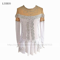 Figure Skating Dress Women's Girls' Ice Skating Dress White high elastic spandex Lace lace Handmade fine drill