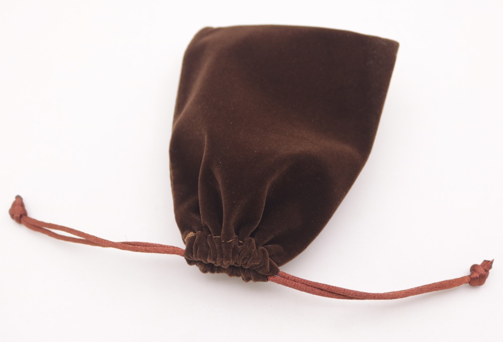 Купить с кэшбэком 1 PCS Brown Velvet Jewelry Gift Bag Pouch Drawstring Pouches Handmade 9X12cm