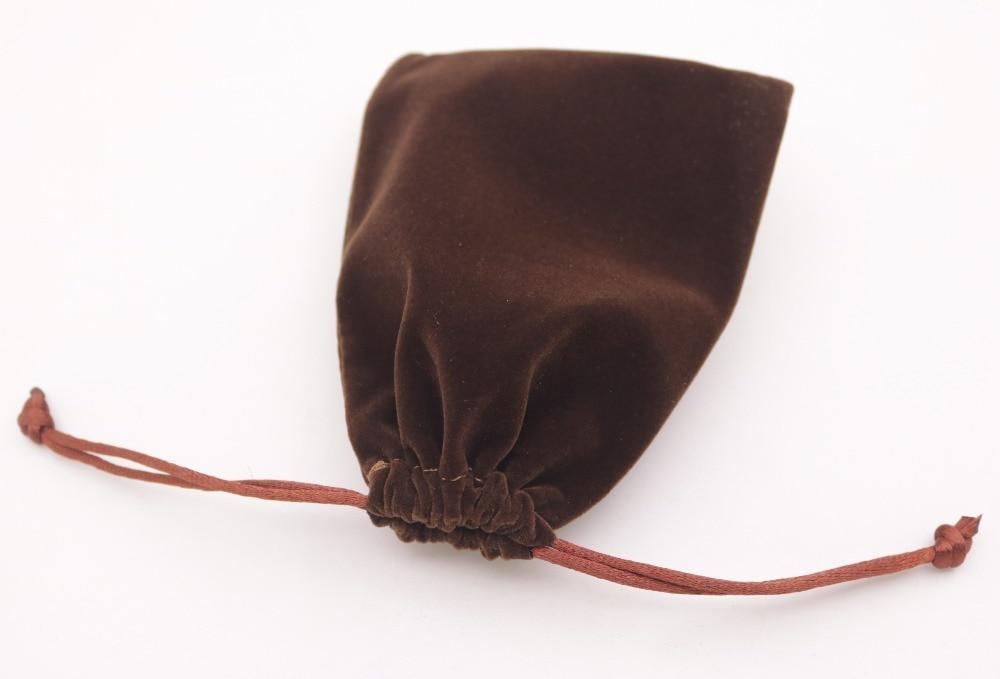 1 PCS Brown Velvet Jewelry Gift Bag Pouch Drawstring Pouches Handmade 9X12cm