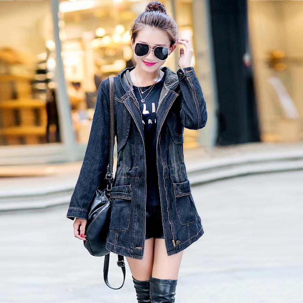 2016 Women Deinm Trench Coat Autumn Female Hooded Jean Windebreaker Coat Plus Size Femininos Mujer Trench Outwear Coats