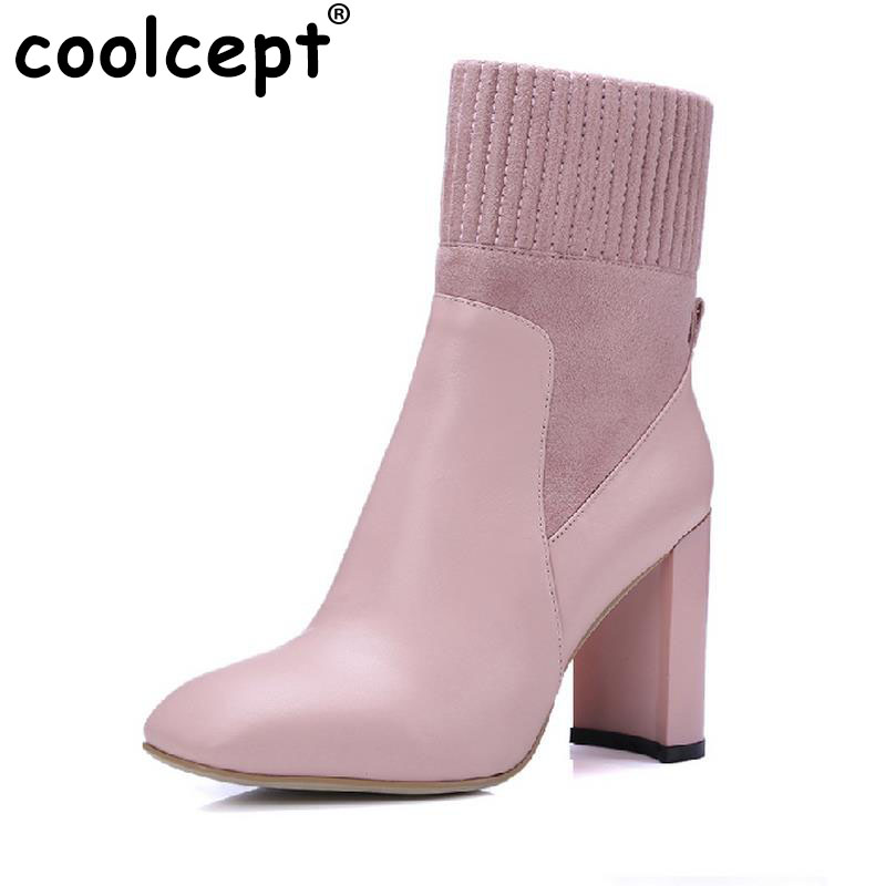 Coolcept Brand Woman Real Genuine Leather Square Heel Half Short Boots Women Retro Square Toe Heeled Shoes Footwear Size 34-39