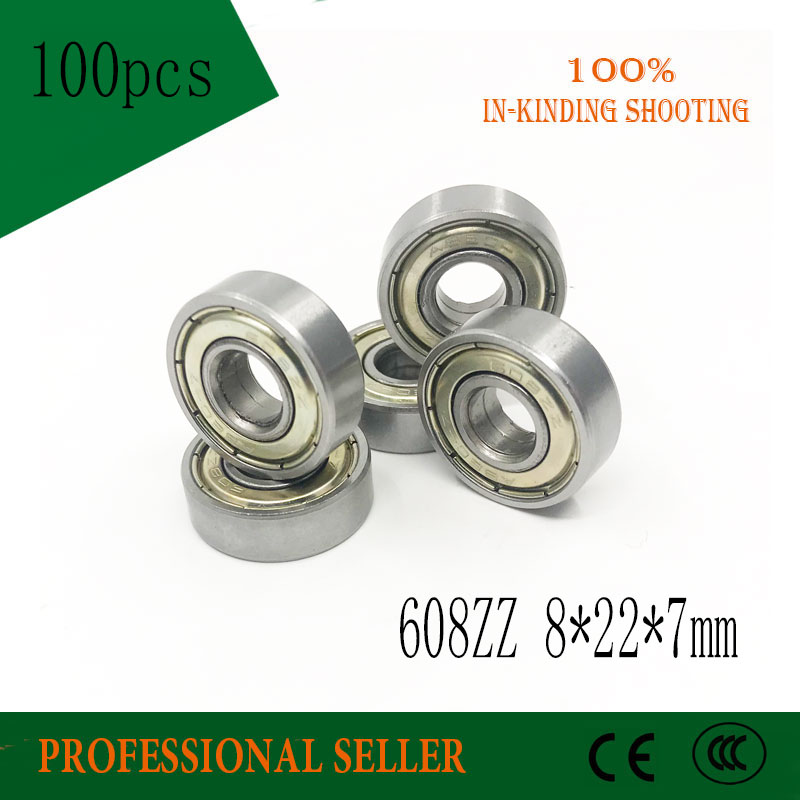 Free Shipping 100pcs 608zz 608z 8x22x7 Mm Bearing Abec-7  Carbon Miniature 608 Zz Longboard Skateboard Ball Bearings 608-2z