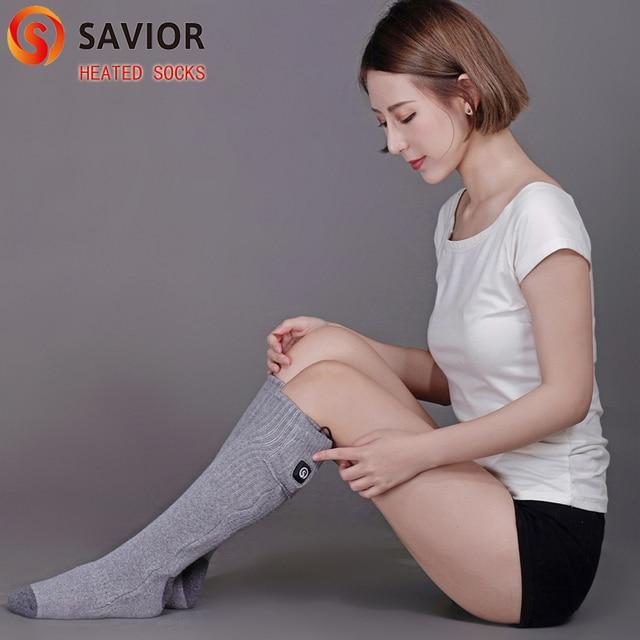 Savior 7.4V Grey heated sock winter warm heating socks Cotton Soft washable UK,US,EU,AU plug choose quick heat 40-50c 3 levels