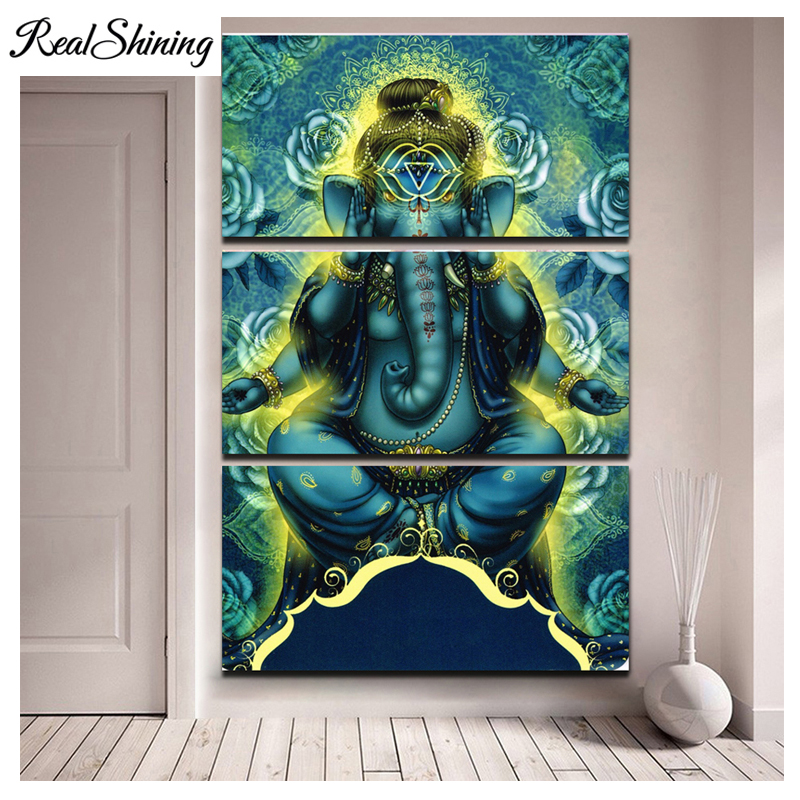 Large Home Decor Diy diamond painting cross stitch 3 Pieces Hindu god Lord Ganesha 5d diamond mosaic embroidery crafts FS3328 in Diamond Painting Cross Stitch from Home Garden