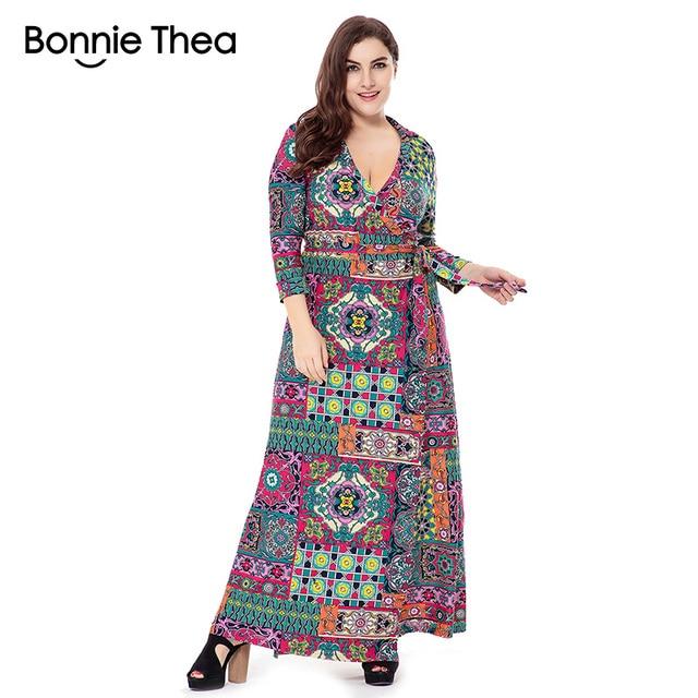 2019 autumn woman new Bohemian Vintage dress fashion printing plus ...