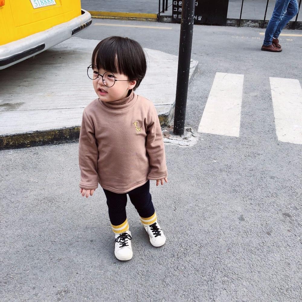 Kids underwear fleece lining thick warm toddler baby girls boys sweatshirt solid colour childrens winter tops