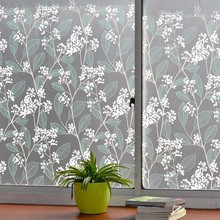 Green leaf decorative window film,PVC self-adhesive frosted glass  privacy foil,heat insulation