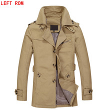 Brand  Men's belt Jacket Spring and Autumn Masculina Windbreaker Casual Washed 5 ColorLong Coats Men Cotton Jackets Parka Male