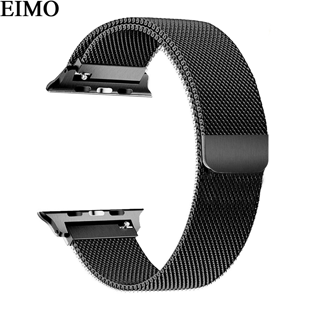 EIMO Milanese Loop band for Apple Watch 4 44mm 40mm Stainless Steel Link Bracelet Wrist Belt Watchband correa Iwatch series 4 eimo 1 1 original band strap for apple watch series 4 44mm 40mm iwatch 4 stainless steel link bracelet wrist belt watchband