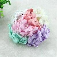 6pcs Lot Edition Simulation Custom 6Cm Gauze The Blossom Flower Material Diy Handmade Bride Bridesmaid Headdress