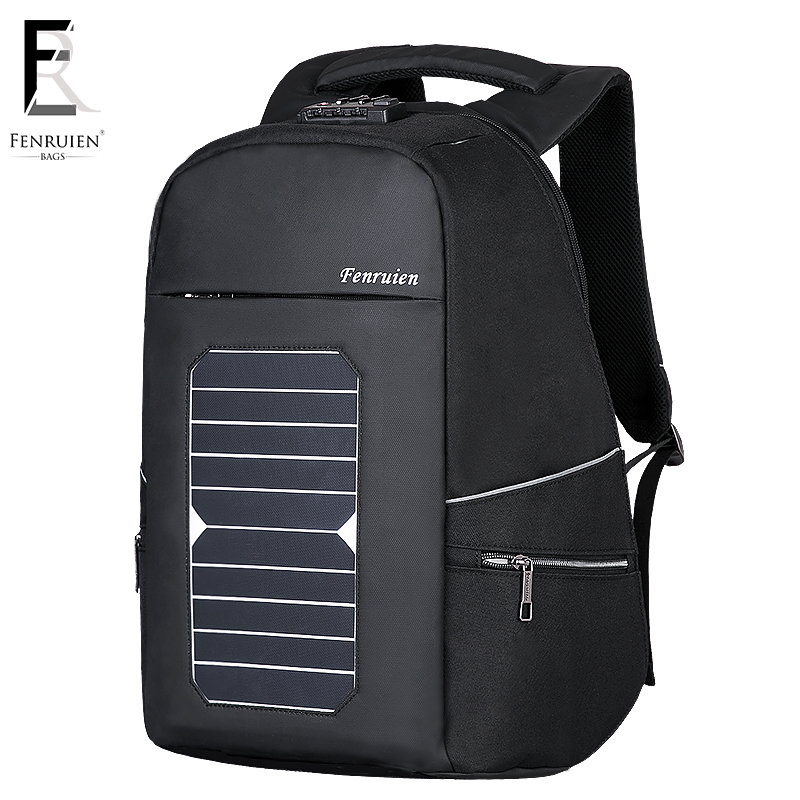 Fenruien 5.3v Solar Powered Backpack Anti Theft Men Women Waterproof Travel Backpack Laptop Business Usb Charging Daypack W/lock