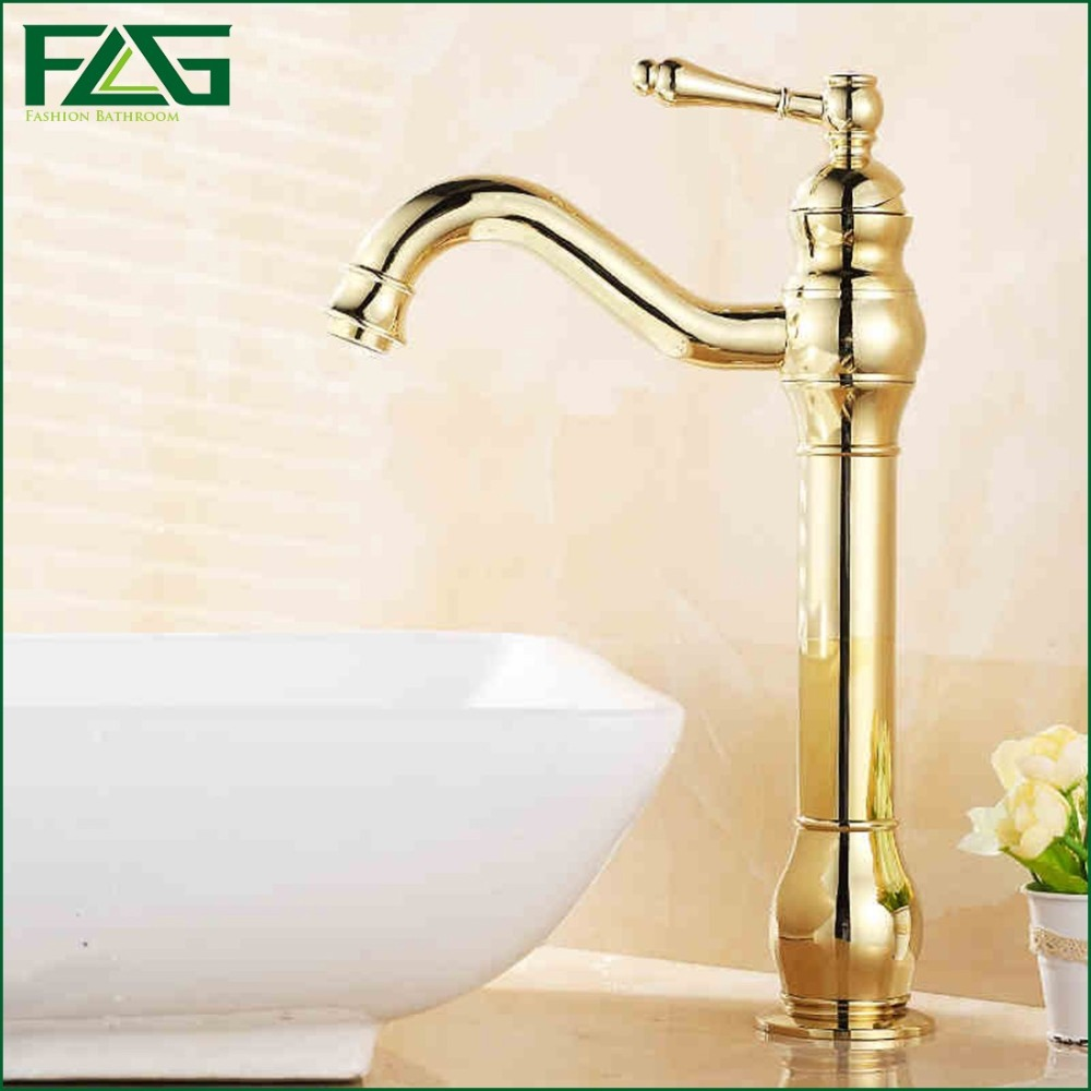 ФОТО FLG Contemporary Bath Mat Cold & Hot Deck Mounted Long Spout 1 Lever Pump Golden Color Mixer Basin Faucet Gold Basin Taps M125