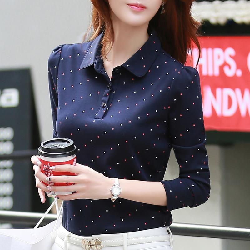 Cotton Office Tee Shirt Femme Women Long Sleeve Dot P olo Tshirt 2018 Fashion Womens Tops Button Patchwork Clothes T Shirt 1438
