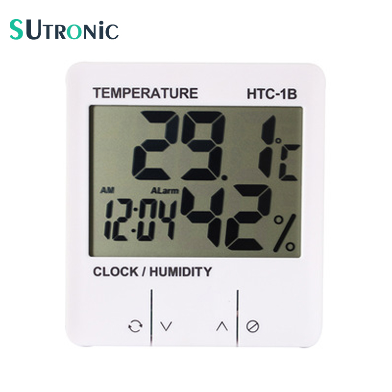 Exclusive! HTC-1B Electronic Temperature Humidity Meter Indoor Digital Thermometer Hygrometer Weather Station Alarm Clock