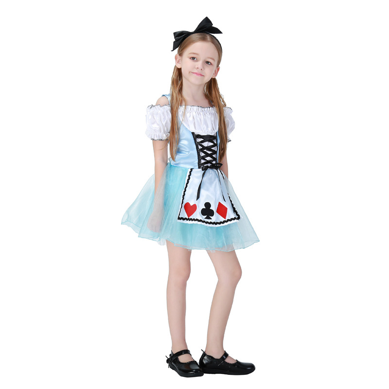 Free Shipping,New Alice in Wonderland Dress Kawaii Halloween Party Carnival Christmas gifts Maid Costume/Dress For Grils Kids