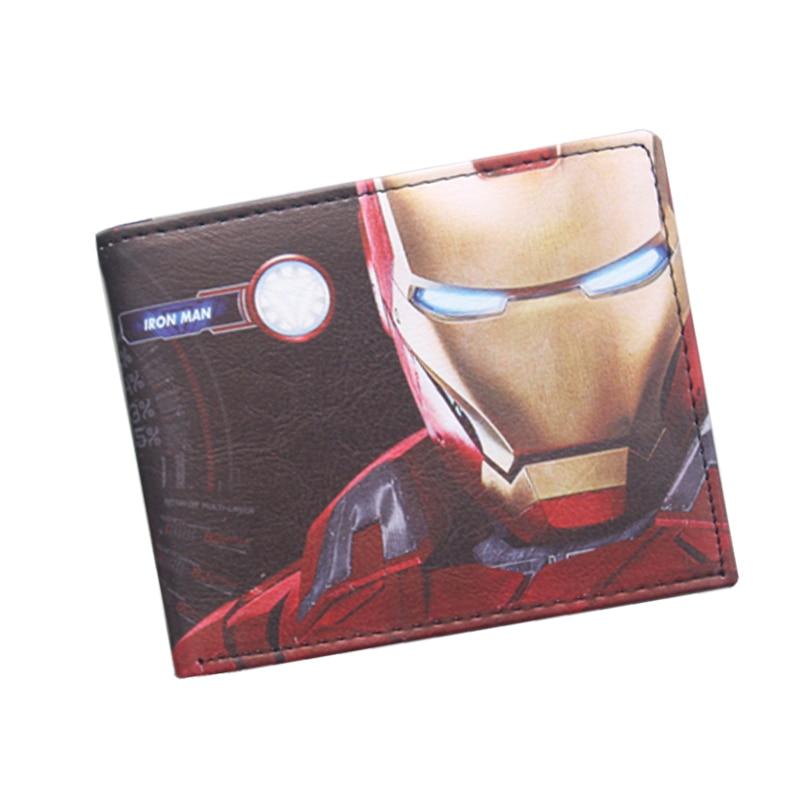 цена Avengers Iron Man Wallet Super Hero Purses Leather Small Anime Men Wallet Bag Credit ID Card Holder Red Wallet For Boys Girls онлайн в 2017 году